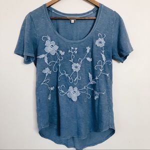 Blue Lucky Brand Floral Embroidered Top